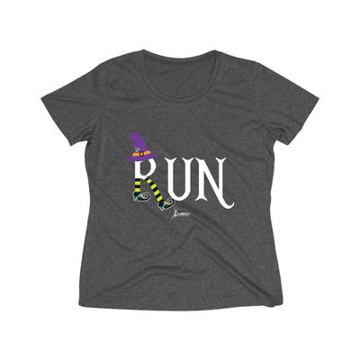 Running Witch Halloween Women's Short Sleeve Tech Shirt T-Shirt Printify Sport-Tek Graphite Heather L