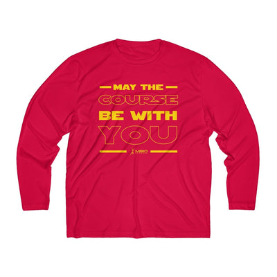 May The Course Be With You Men's Long Sleeve Tech Shirt Long-sleeve Printify Sport-Tek True Red XS