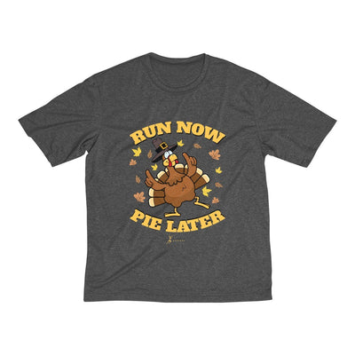 Run Now Pie Later Men's Short Sleeve Tech Shirt T-Shirt Printify Sport-Tek Graphite Heather XS