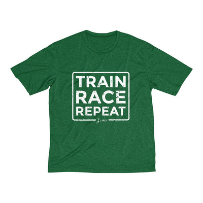 Train Race Repeat Men's Short Sleeve Tech Shirt T-Shirt Printify Sport Tek Forest Green Heather XS