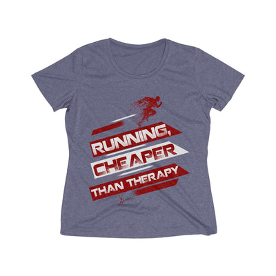 Running, Cheaper Than Therapy Women's Short Sleeve Tech Shirt T-Shirt Printify Sport Tek True Navy Heather XS