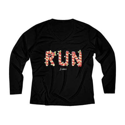 Festive Run Women's Long Sleeve Tech Shirt Long-sleeve Printify Sport-Tek Black XS