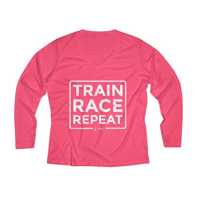Train Race Repeat Women's Long Sleeve Tech Shirt Long-sleeve Printify Sport Tek Hot Coral XS