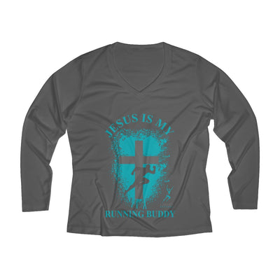 Jesus is My Running Buddy Women's Long Sleeve Tech Shirt Long-sleeve Printify Sport-Tek Iron Grey XS