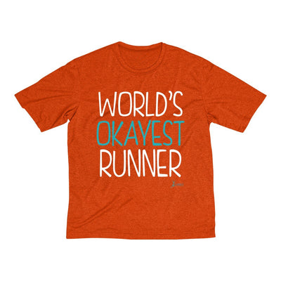 World's Okayest Runner Men's Short Sleeve Tech Shirt T-Shirt Printify Sport Tek Deep Orange Heather XS