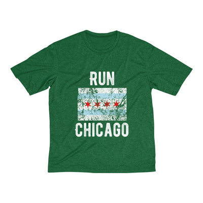Run Chicago Men's Short Sleeve Tech Shirt T-Shirt Printify Sport Tek Forest Green Heather XS