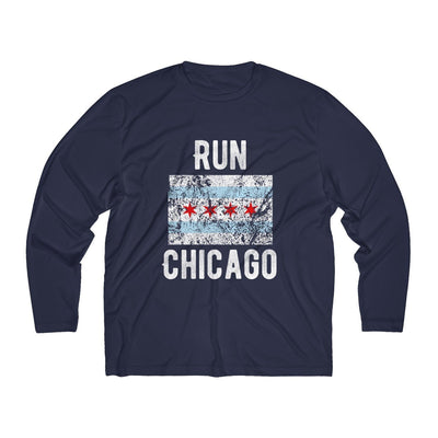 Run Chicago Men's Long Sleeve Tech Shirt Long-sleeve Printify Sport Tek True Navy XS