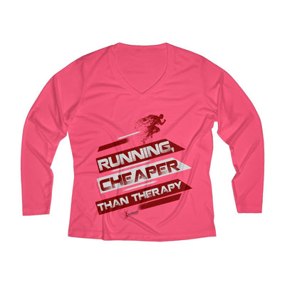 Running, Cheaper Than Therapy Women's Long Sleeve Tech Shirt Long-sleeve Printify Sport Tek Hot Coral XS