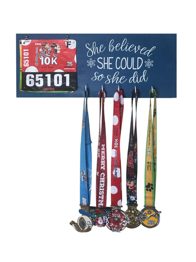 Running Medal Hanger - She Believed She Could So She Did Running Medal Hanger Mbio Apparel Oceanside