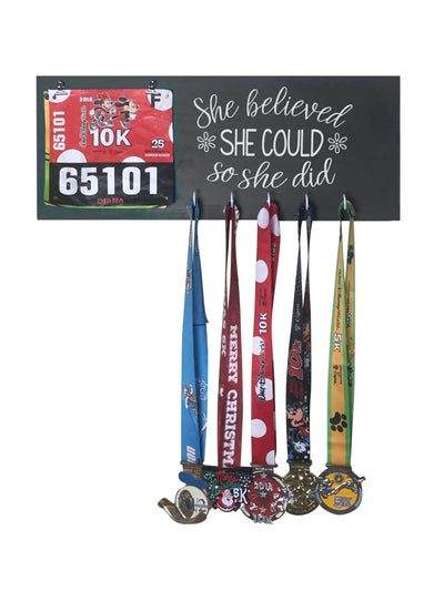 Running Medal Hanger - She Believed She Could So She Did Running Medal Hanger Mbio Apparel Black of Night