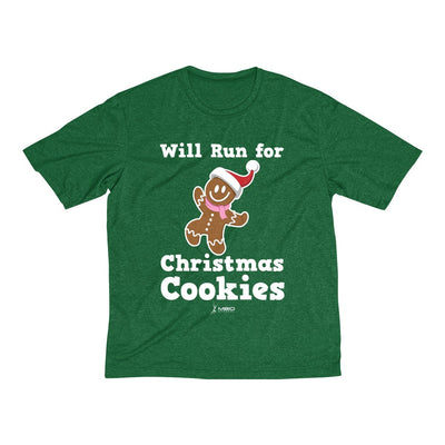 Will Run for Christmas Cookies Men's Short Sleeve Tech Shirt T-Shirt Printify Sport-Tek Forest Green Heather XS