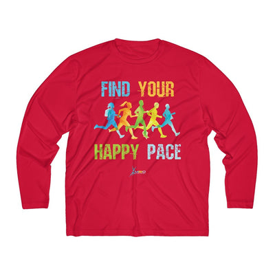 Find Your Happy Pace Men's Long Sleeve Tech Shirt Long-sleeve Printify Sport-Tek True Red XS