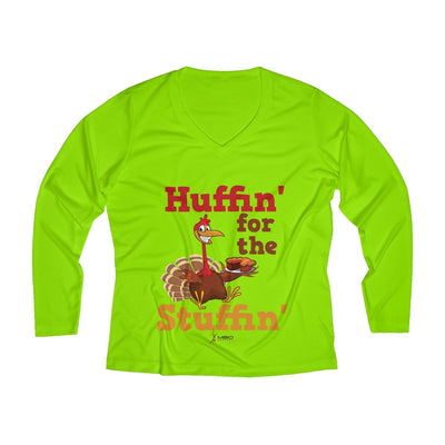 Huffin' for the Stuffin' Women's Long Sleeve Tech Shirt Long-sleeve Printify Sport-Tek Lime Shock XS