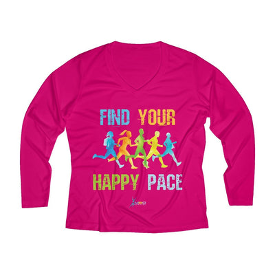 Find Your Happy Pace Women's Long Sleeve Tech Shirt Long-sleeve Printify Sport-Tek Pink Raspberry XS