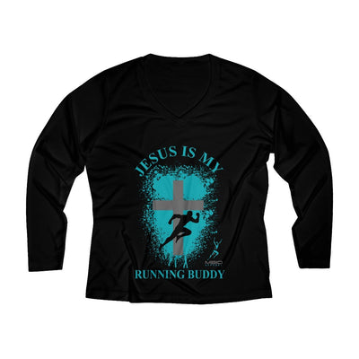 Jesus is My Running Buddy Women's Long Sleeve Tech Shirt Long-sleeve Printify Black XS
