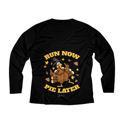 Run Now Pie Later Women's Long Sleeve Tech Shirt Long-sleeve Printify Black L