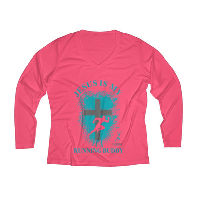 Jesus is My Running Buddy Women's Long Sleeve Tech Shirt Long-sleeve Printify Sport-Tek Hot Coral XS