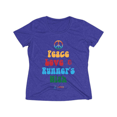 Peace, Love, and Runner's High Women's Short Sleeve Tech Shirt T-Shirt Printify Sport-Tek Cobalt Heather XS
