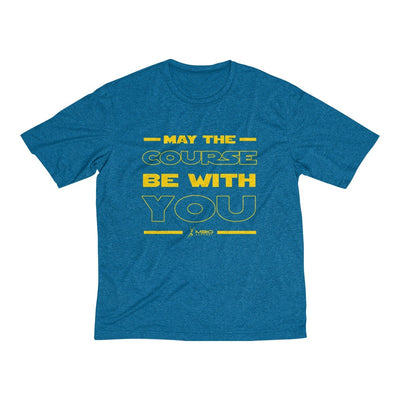 May The Course Be With You Men's Short Sleeve Tech Shirt T-Shirt Printify Sport-Tek Blue Wake Heather XS
