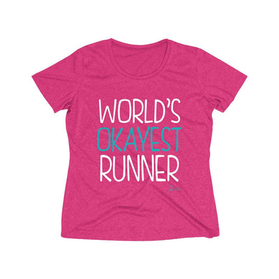 World's Okayest Runner Women's Short Sleeve Tech Shirt T-Shirt Printify Sport-Tek Pink Raspberry Heather XS