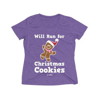 Will Run for Christmas Cookies Women's Short Sleeve Tech Shirt T-Shirt Printify Sport-Tek Purple Heather XS