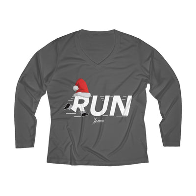 Christmas Run Women's Long Sleeve Tech Shirt Long-sleeve Printify Sport-Tek Iron Grey L