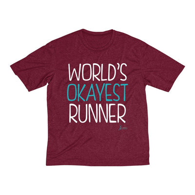 World's Okayest Runner Men's Short Sleeve Tech Shirt T-Shirt Printify Sport Tek Cardinal Heather XS