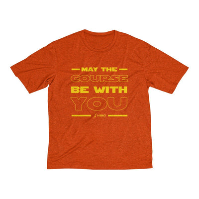 May The Course Be With You Men's Short Sleeve Tech Shirt T-Shirt Printify Sport-Tek Deep Orange Heather XS