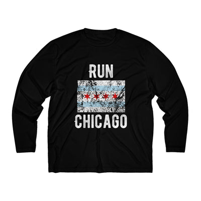 Run Chicago Men's Long Sleeve Tech Shirt Long-sleeve Printify Sport Tek Black XS