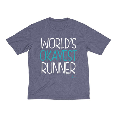 World's Okayest Runner Men's Short Sleeve Tech Shirt T-Shirt Printify Sport Tek True Navy Heather XS