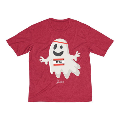 Happy Ghost Runner Halloween Men's Short Sleeve Tech Shirt T-Shirt Printify Sport-Tek Scarlet Heather XS