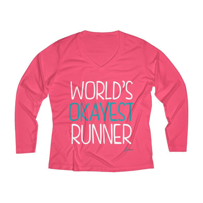 World's Okayest Runner Women's Long Sleeve Tech Shirt Long-sleeve Printify Sport Tek Hot Coral XS