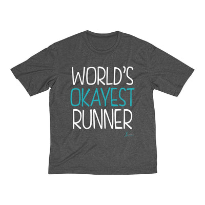 World's Okayest Runner Men's Short Sleeve Tech Shirt T-Shirt Printify Sport Tek Graphite Heather L