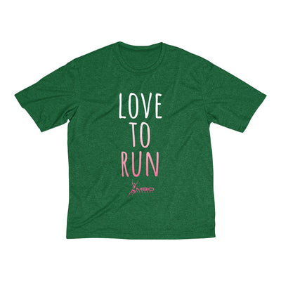 Love To Run Men's Short Sleeve Tech Shirt T-Shirt Printify Sport-Tek Forest Green Heather XS