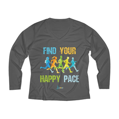 Find Your Happy Pace Women's Long Sleeve Tech Shirt Long-sleeve Printify Sport-Tek Iron Grey L