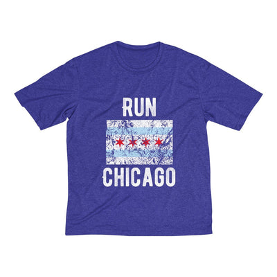 Run Chicago Men's Short Sleeve Tech Shirt T-Shirt Printify Sport Tek Cobalt Heather XS