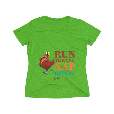 Run Turkey Nap Repeat Women's Short Sleeve Tech Shirt T-Shirt Printify Sport-Tek Turf Green Heather XS