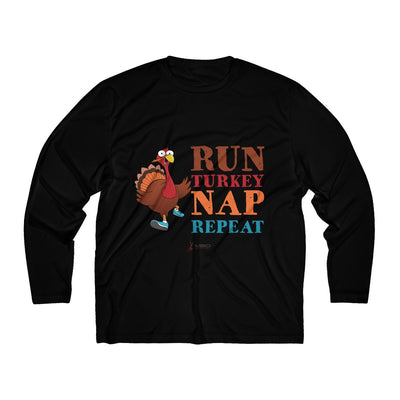 Run Turkey Nap Repeat Men's Long Sleeve Tech Shirt Long-sleeve Printify Black L