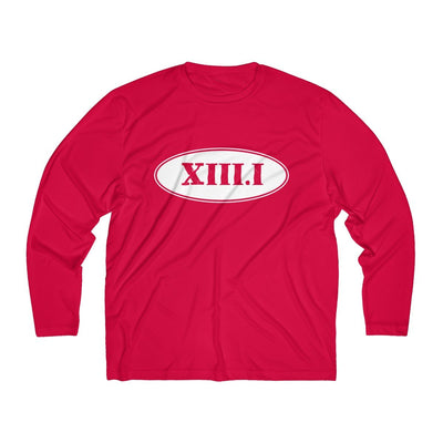 Half Marathon Roman Numeral Oval Men's Long Sleeve Tech Shirt Long-sleeve Printify Sport-Tek True Red XS