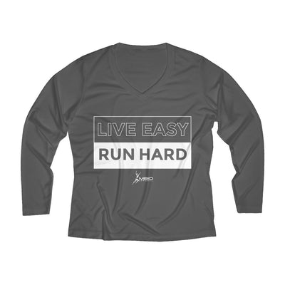 Live Easy Run Hard Women's Long Sleeve Tech Shirt Long-sleeve Printify Sport Tek Iron Grey L