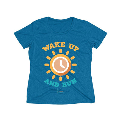 Wake Up and Run Women's Short Sleeve Tech Shirt T-Shirt Printify Sport-Tek Blue Wake Heather XS
