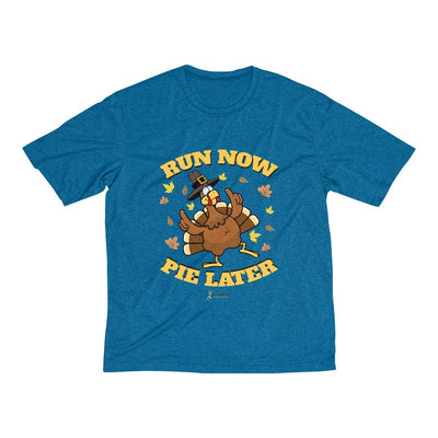 Run Now Pie Later Men's Short Sleeve Tech Shirt T-Shirt Printify Sport-Tek Blue Wake Heather XS