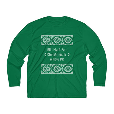 All I Want for Christmas Men's Long Sleeve Tech Shirt Long-sleeve Printify Sport-Tek Forest Green XS