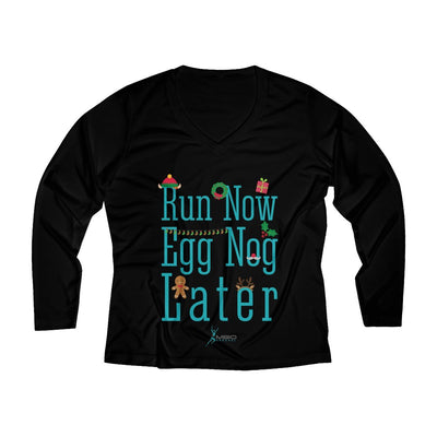 Run Now Eggnog Later Women's Long Sleeve Tech Shirt Long-sleeve Printify Black L