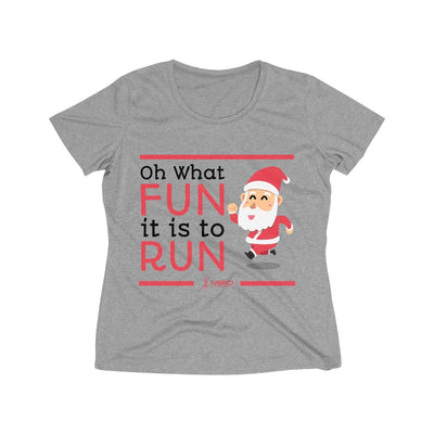 Oh What Fun it is to Run Women's Short Sleeve Tech Shirt T-Shirt Printify Sport-Tek Vintage Heather L