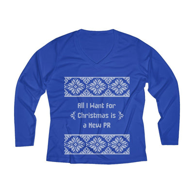 All I Want for Christmas Women's Long Sleeve Tech Shirt Long-sleeve Printify Sport-Tek True Royal XS