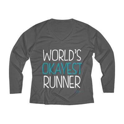 World's Okayest Runner Women's Long Sleeve Tech Shirt Long-sleeve Printify Sport Tek Iron Grey L