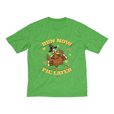 Run Now Pie Later Men's Short Sleeve Tech Shirt T-Shirt Printify Sport-Tek Turf Green Heather XS