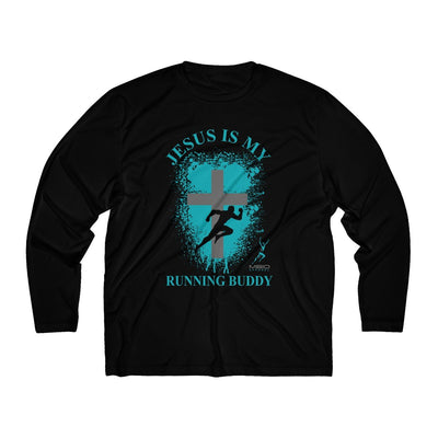 Jesus is My Running Buddy Men's Long Sleeve Tech Shirt Long-sleeve Printify Black XS