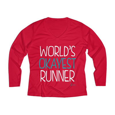 World's Okayest Runner Women's Long Sleeve Tech Shirt Long-sleeve Printify Sport Tek True Red XS
